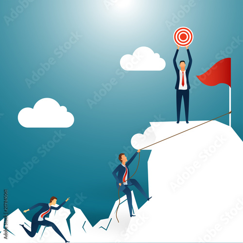 Creative Design For Success Or Goal Achievement Concept Business People Running Towards Their One Of Them Achieve The Target On Shiny