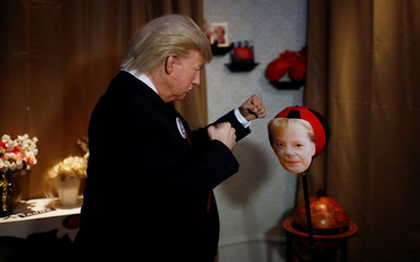 Trump show in the Madame Tussauds wax museum in Berlin