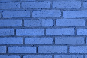 creative old blue brick wall texture for background use.