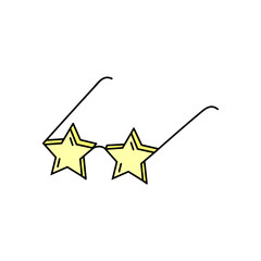 Star shaped sunglasses, vector hand drawn illustration. Cute star glasses doodle icon, black outline.