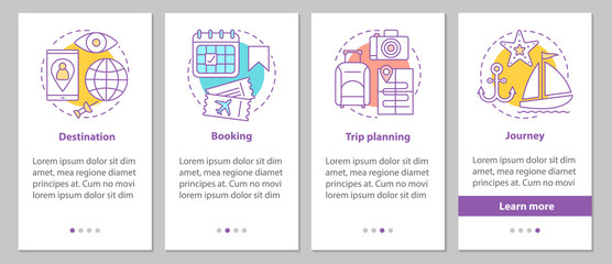Travel organization onboarding mobile app page screen with linea