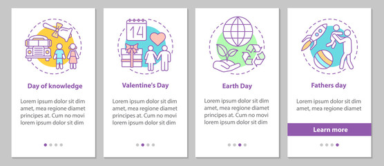 Seasonal holidays onboarding mobile app page screen with linear