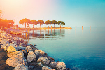 Beautiful landscape of scenic Garda lake in Sirmione, Lombardy, Italy