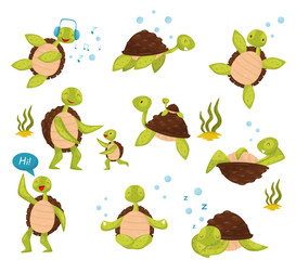 Flat vector set of cute turtles in different actions swimming, listening music, relaxing, saying Hi, meditating in lotus position