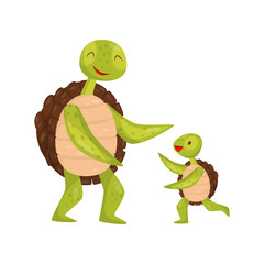Little turtle running towards his dad. Adorable marine animals. Sea reptile. Flat vector element for children book or poster