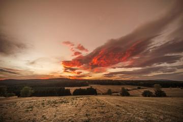 Amazing sunset over dry plains