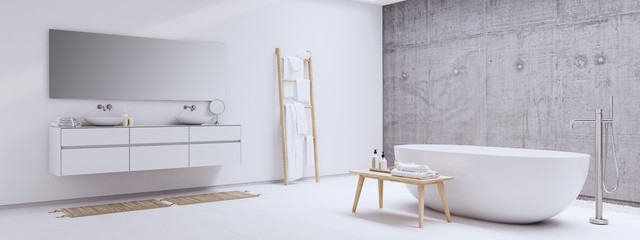 new modern zen bathroom with white and concrete wall. 3d rendering
