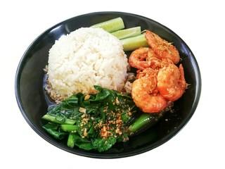 kale with garlic fried shrimp