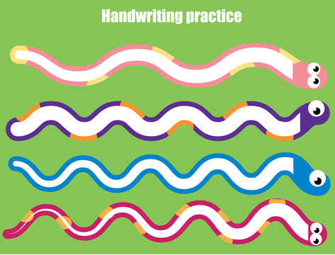 Handwriting practice sheet. Educational children game, printable worksheet for kids. Snakes and wavy lines