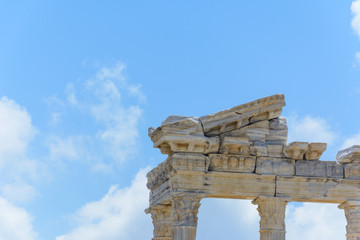 bottom view of the ruins of the ancient temple of Apollo. Side, Turkey