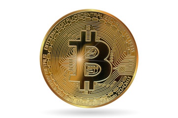 Golden bitcoin. Cryptocurrency. Digital currency. Isolated on a white background.