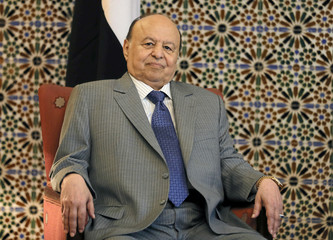 Yemeni President Abd-Rabbu Mansour looks on during his meeting with Arab League Secretary-General Ahmed Aboul Gheit in Cairo