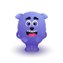 Happy cartoon monster. Vector Halloween monster. Cartoon