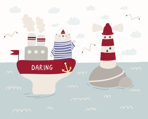 Hand drawn vector illustration of a cute funny sailor bear sailing on a ship, lighthouse, seagulls, clouds. Scandinavian style flat design. Concept for kids, nursery print.