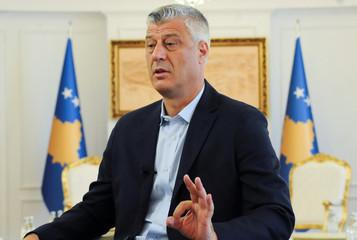 Kosovo President Hashim Thaci speaks during interview in Pristina