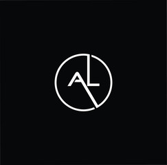 Initial letter AL LA minimalist art monogram circle shape logo, white color on black background