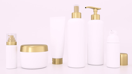 Realistic 3D rendering mockup for cosmetic containers for creams and tonic bottles. Bottle and tube, tonic cream for care skin illustration