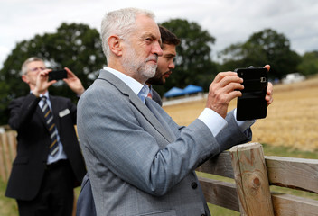 Jeremy Corbyn, the leader of Britain's Labour Party, visits Harper Adams University in Newport