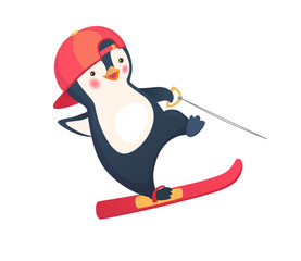 penguin water skiing