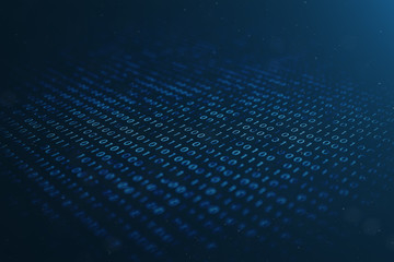 3D illustration binary code on blue background. Bytes of binary code. Concept technology. Digital binary background.