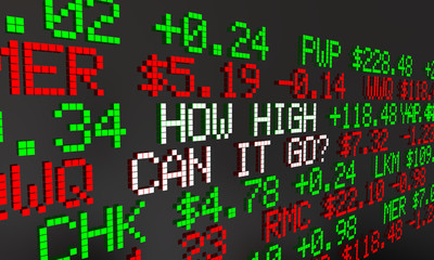 How High Can It Go Stock Market Prediction Ticker Prices 3d Animation