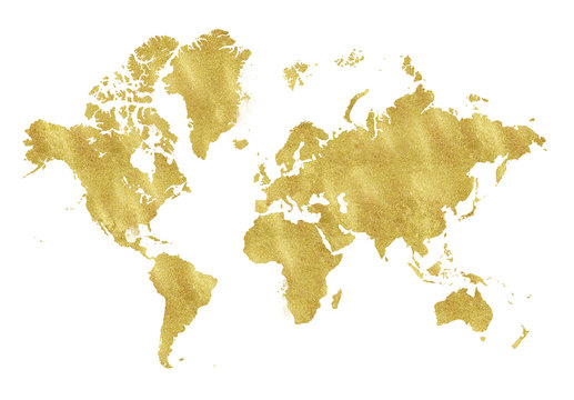 Vintage gold map on white background. Wear texture, grunge, gold patina. Template for cards, wedding invitation, posters, blogs, website