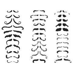 Movember hand drawn November Cancer Awareness Month poster with mustaches isolated on the white background. Fun brush ink vector illustration for banners, greeting card, design.