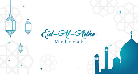 Eid Al Adha Mubarak background Vector illustration, Beautiful mosque with Arabic lanterns, Muslim community festival.
