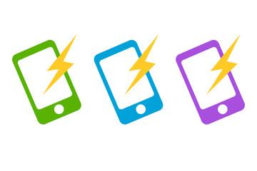 スマホ通知イメージ携帯電話と稲妻アイコン。スマートフォンWEBデザイン、アプリUI用イラスト