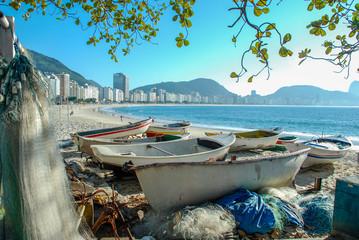 Fishing boat on Copacabana beach Rio de Janeiro