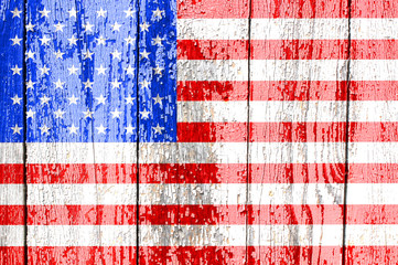 American flag on an old wooden background