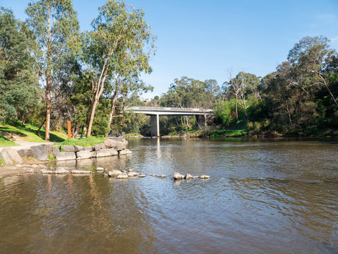 Yarra River flowing through the outer suburb of Warrandyte in Australia.