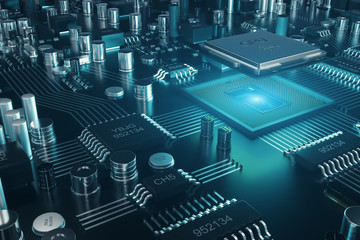 Circuit board. Technology background. Central Computer Processors CPU concept. Motherboard digital chip. Tech science background. Integrated communication processor. 3D illustration