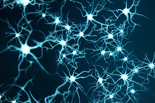 Conceptual illustration of neuron cells with glowing link knots. Neurons in brain on with focus effect. Synapse and Neuron cells sending electrical chemical signals. 3d illustration