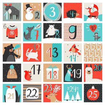 Advent calendar. December countdown calendar vector illustration, christmas eve creative winter background set with numbers