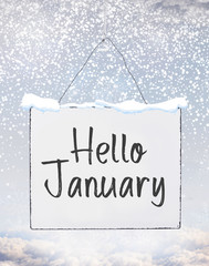 Hello January text on white plate board banner with cold snow flakes qoute