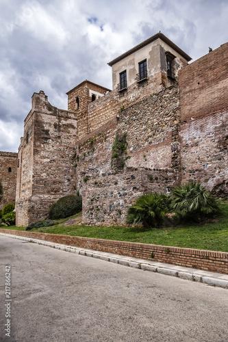 External view of Alcazaba Walls - palatial fortress in Malaga built