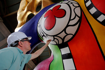 "Conservator Marty is seen during restoration works on the sculpture ""L'ange protecteur"" by Saint Phalle  at the central railway station in Zurich"