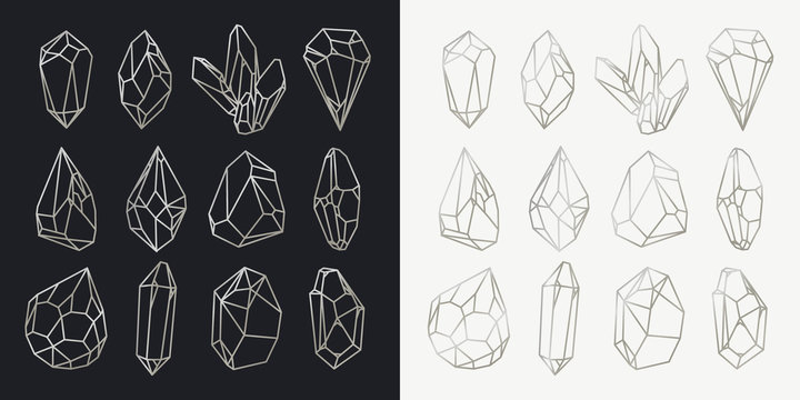 Set of isolated hollow crystals, mineral outlines