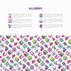 Allergy concept with thin line icons: runny nose, dust, streaming eyes, lactose intolerance, citrus, seafood, gluten free, dust mite, flower, mold, edema. Vector illustration, print media template.