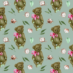 Seamless pattern with hand-painted soft plush teddy bears and cotton flowers on a blue background