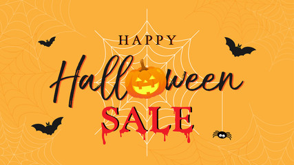 Happy Halloween Sale banner vector illustration. lettering and Halloween pumpkin on orange spider web background.