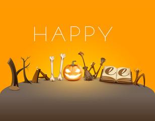 Happy halloween text greeting card. Pumpkin lantern, magic book and broom holiday accessory