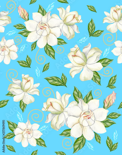 Watercolor Seamless Pattern With White Gardenias On A Blue