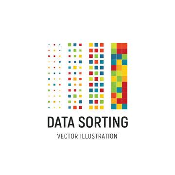 Data sorting vector illustration. Big data base vector emblem. Information sorting abstract logo. Digital technology simple label. Colored squares logo template. Advanced analytics visual design.