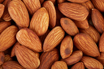Almonds on a white background. Healthy food. Nuts.