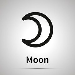 Moon astronomical sign, simple black icon with shadow on gray