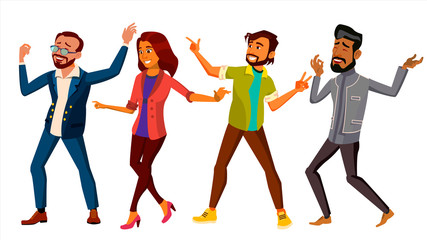 Dancing People Set Vector. Active Woman, Man. Important Event. Isolated Flat Cartoon Illustration