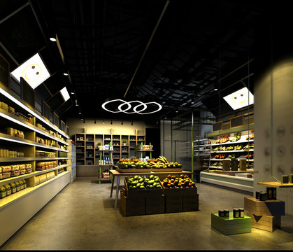 3d render of supermarket