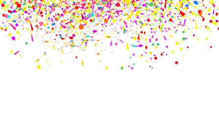 Confetti isolation on white. Luxury texture. Bright background with multicolored glitters. Pattern for design